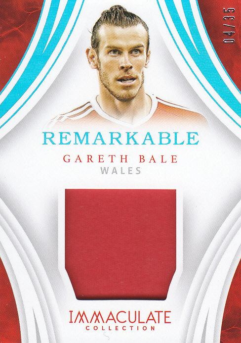 2017 PANINI IMMACULATE SOCCER  Gareth Bale - Wales Remarkable Memorabilia, Blue 04/35