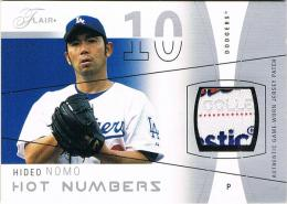 2004 FLEER FLAIR Hideo Nomo HOT NUMBERS Game-Worn Jersey Patch Card HN-HN 02/50 野茂英雄