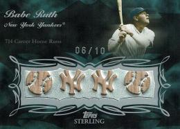 2008 Topps Sterling Sterling Moments Quad Bat BR17 4SM-3 Babe Ruth 【6/10】