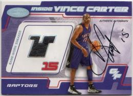 2000-01 Hoops Hot Prospects  Vince Carter Relic Autographs 11/15