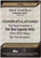 2018 Topps TIER ONE  Dave Winfield Relics 137/175