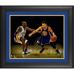 "Stephen Curry Golden State Warriors Framed Autographed 16"" x 20"" vs. Kobe Photograph[フレーム付き]"
